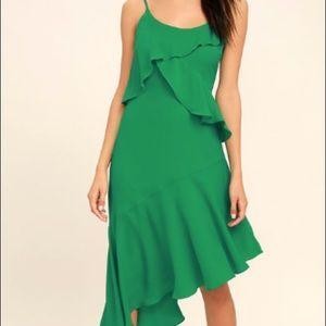 Adelyn Rae Desdemona Green Asymmetrical Midi Dress